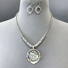 Silver Color Mother of Pearl Circle Popcorn Chain Pendant Necklace & Earring Set