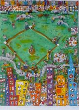 "James Rizzi ""Baseball like it ought to be""  1987 3-D Serigraph Pop Art framed"