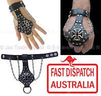 Leather Black Biker Gothic Punk Chopper Gauntlet Bracelet Wristband IRON CROSS
