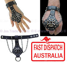 Leather Black Biker Gothic Punk Chopper Gauntlet Bracelet Wristband IRON CROSS