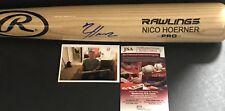 Nico Hoerner Chicago Cubs Signed Engraved Bat JSA WITNESS COA Blonde