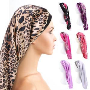 Extra Large Bonnet Sleep Cap Long Satin Night Cap For Braids Curly Hair Silk Hat