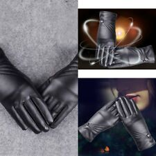 Women's Winter PU Leather Full Finger Touch Screen Warm Gloves