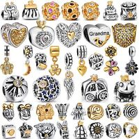 Hot Jewelry Plated Gold European Bead Silver Charms Fit Authentic 925 Bracelets