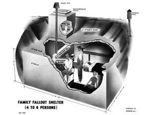 "1958 Family Fallout Shelter Plans Vintage Art Print 8.5"" x 11"" Reprint"