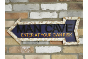 """Large Wooden Arrow Wall Art Vintage Man Cave """"Enter At Your Risk"""" Sign Plaque"""