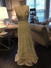 NWT Rebecca Taylor  Wedding Dress With White Crystals Msrp $1,995 Sz 4
