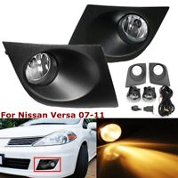 For 07-11 Nissan Versa Clear Front Bumper Fog Lights Driving Lamps + Switch Pair