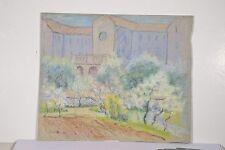 Pastel Marguerite DUBOIS Jardin au Printemps Arbres en fleurs Abbaye Lochabair