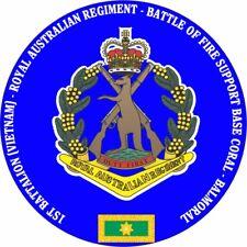 1ST BATTALION RAR BATTLE OF FSB CORAL -BALMORAL LAMINATED VINYL STICKER 100MM