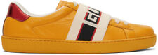 Gucci Mens Yellow New Ace Elastic Band Leather Flat Low Top Sneakers G 14 15