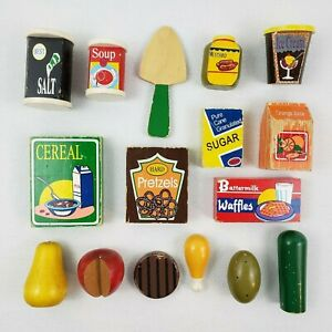 Pottery Barn Large Lot of Vintage Wood Fun Play Pretend Food Groceries 16 Pieces
