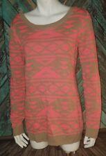 Charlotte Russe Large Pink Tan Pattern Tunic Sweater Long