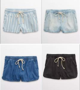 Aerie American Eagle Chambray sunwashed denim shorts pockets boho chic junior
