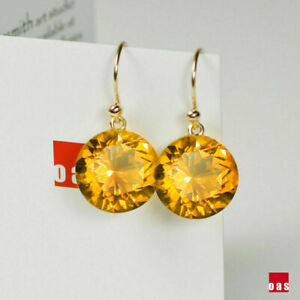 2.00Ct Round Cut Citrine Drop/Dangle Hook Womens Earrings 14K Yellow Gold Finish