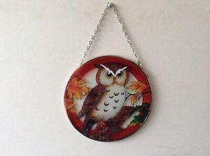 Glass Owl Large Round  Sun Catcher (24)