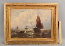 Lrg Antique George Bunn Maritime Impressionist Ship Harbor & Lighthouse Painting