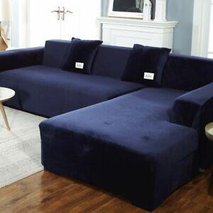 Plush Velvet L Shape Sofa Slipcover Elastic Sectional Couch Full Cover Luxury