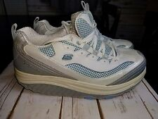 SKECHERS SHAPE UPS WHITE BLUE LEATHER SNEAKERS WALKING SHOES US WOMENS SIZE 9.5