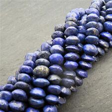 "Lapis Lazuli Button Beads 15"" Strand Semi Precious Gemstone"
