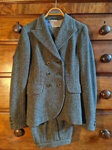 Max Mara 10 Italian Ladies Suit brown tweed style double breasted wool