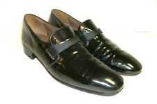 BALLY Formal Mens 10.5N Black Patent Leather Slip On Shoes Made in France XLNT 4