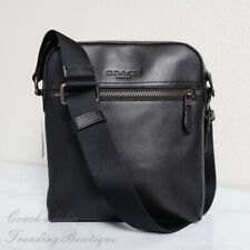 NWT Coach F68014 Men's Houston Flight Bag Leather Crossbody in Black
