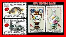 ROMANIA 1991 STAMP SHOWS in CHINA & JAPAN x2 SETS MNH PAINTINGS PORCELAIN PARROT