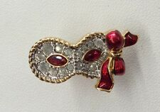 Stunning! Swan Swarovski Ruby Red & Clear Crystal Enamel Masquerade Mask Pin