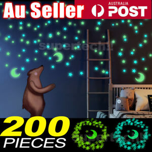 200PCS Home Wall Glow In The Dark Stars Stickers Baby KIDS Decal Luminous