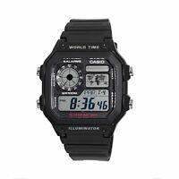Casio Men's World Time Multifunction Black Resin Band 42mm Watch AE1200WH-1AV