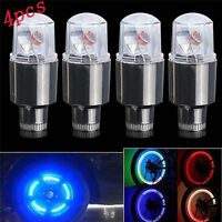 4PCS Bike Car Motorcycle Wheel Tire Tyre Valve Cap Spoke Neon LED Flash Lighting