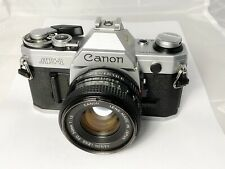Canon AE-1 Film Camera & FD 50mm F1.8 Lens, New Seals, Excellent