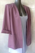 Millers Mauve Open Front Jacket with front pockets, 3/4 Cuffed Sleeve, Size 12