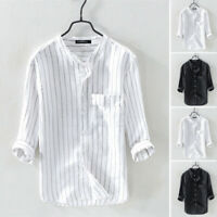 100%Cotton Mens Causal Shirt Vintage Striped 3/4 Sleeve Loose Buttons Top Blouse