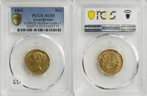 SCARCE GOLD SOVEREIGN 1863 Victoria Young Head  Shield S-3852D PCGS AU53  WGI062