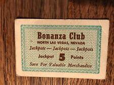 Don French's Bonanza Club 5 Point Jackpot Card North Las Vegas Nevada