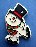 Hallmark PIN Christmas Vintage SNOWMAN Ice Skates Holiday Brooch