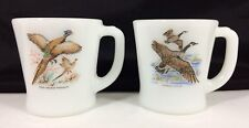 2 Vtg Fire King Oven Ware Glass Mugs Red Necked PHEASANT Canada GOOSE Game Birds