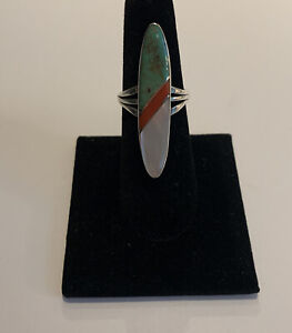 Sterling Silver Turquoise Coral and Mother of Pearl Ring Size 7