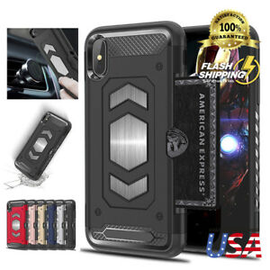 Fits Apple iPhone Rugged Hybrid Magnetic Shockproof Card Holder Case Cover