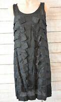 Sussan Dress tunic shift sheath Size 12 black rara layered sleeveless