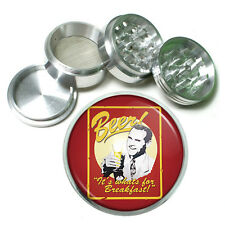 "Vintage Poster D256 Aluminum Herb Grinder 2.5"" 63mm 4 Piece Beer For Breakfast"