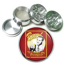 """Vintage Poster D256 Aluminum Herb Grinder 2.5"""" 63mm 4 Piece Beer For Breakfast"""