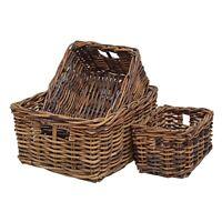 Wicker Storage Basket Shelf Drawer Kitchen Bathroom Rustic Brown Rattan