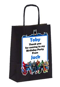 PERSONALISED BOYS BIRTHDAY PARTY PAPER GIFT FAVOUR TOTE BAGS SUPERHEROES BATMAN