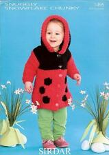 1495 SIRDAR SNUGGLY SNOWFLAKE CHUNKY GIRLS LADYBIRD HOODED COAT KNITTING PATTERN