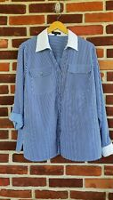 Notations Wiman 1X blouse blue white striped Roll Tab sleeve