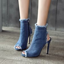 Women Oxford Denim Zip Slim High Heels Slingback Ankle Boots Stilettos Sandals