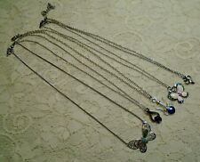 VINTAGE TO NOW ASSORTED SILVER TONE PENDANT NECKLACE LOT BUTTERFLY STONES